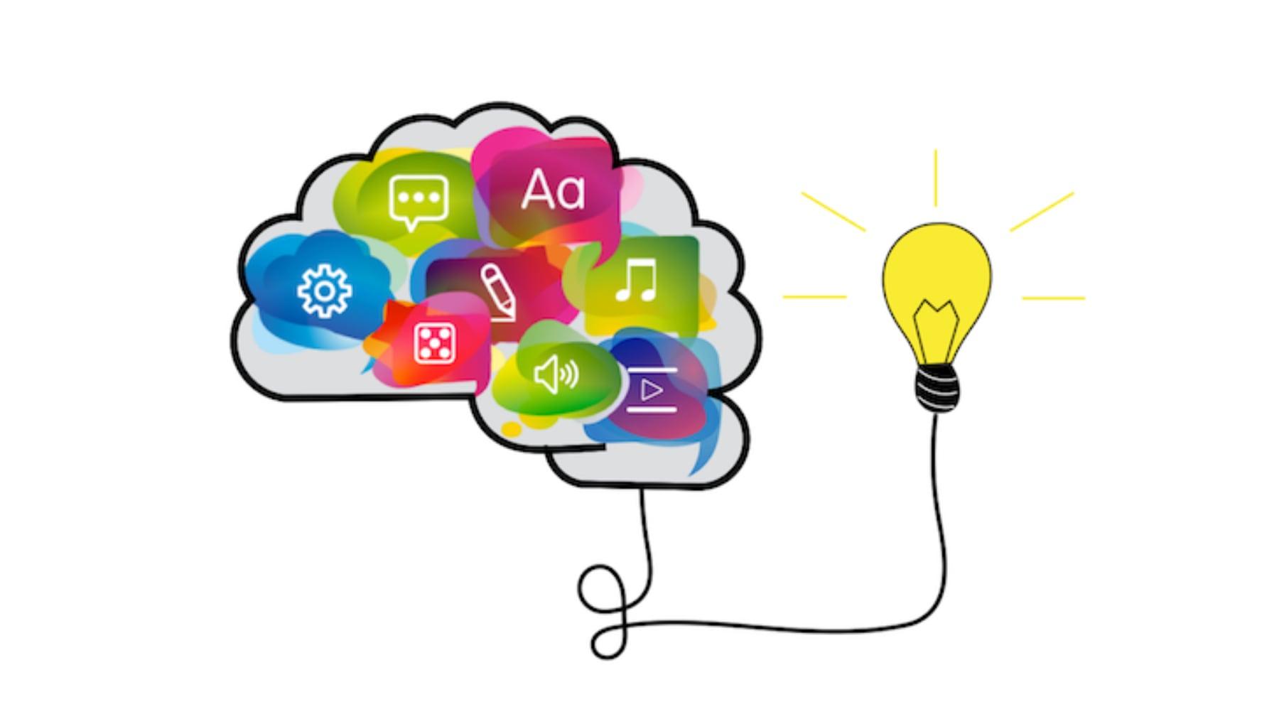 Hjerne Som Inneholder Fargede Ikoner For Medier - Linje Til Lyspære For