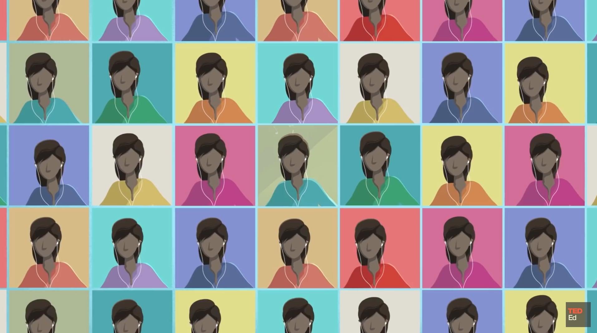 Skjermbilde Fra Videoen På Siden - Viser Mange Tegnede Hoder - Ulike Farger, Men Ellers Like - Repetisjon