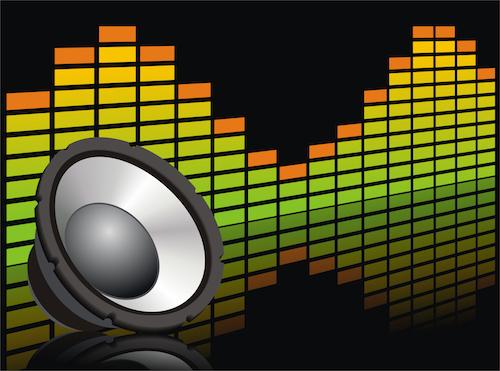illustrasjon med høyttaler ikon og lydnivå