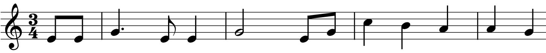 En linje med enkle noter