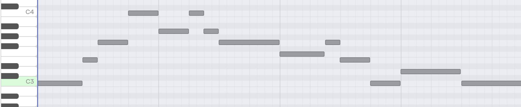 Alle Fugler, notert med pianorull (fra Soundtrap)